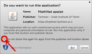 Image of Java's 'Do you want to run this application' dialog with the checkbox not to ask again marked and circled.