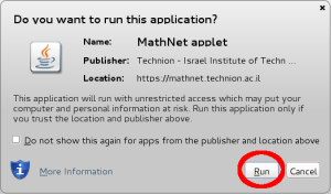 Image of Java's 'Do you want to run this application' dialog with the Run button circled.