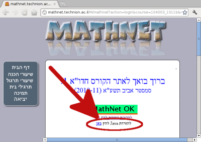 Image of a MathNet screen where the download Java link is circled to emphasize its location